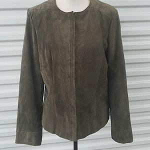 Alfani olive green leather jacket size large